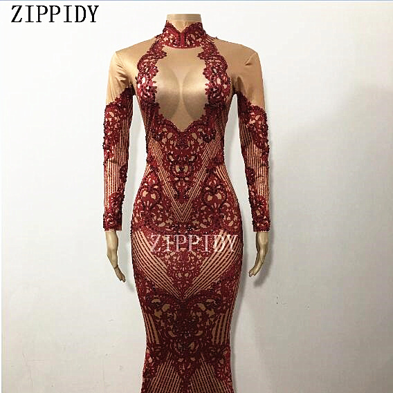 Sparkly Red Rhinestones Printed Sexy Women s Dress Big Long Tail Outfit  Nightclub Stage Female Singer Birthday 7cb51d636e08