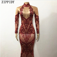 Sparkly Red Rhinestones Printed Sexy Women's Dress Big Long Tail Outfit Nightclub Stage Female Singer Birthday Prom Show Dress
