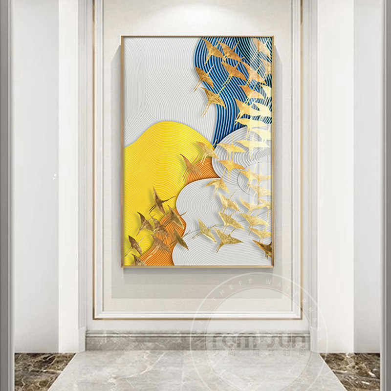 Abstract Golden Fish Birds Canvas Art Modern Painting Poster Print For Living Room Aisle Entrance Fashion Artistic Wall Decor