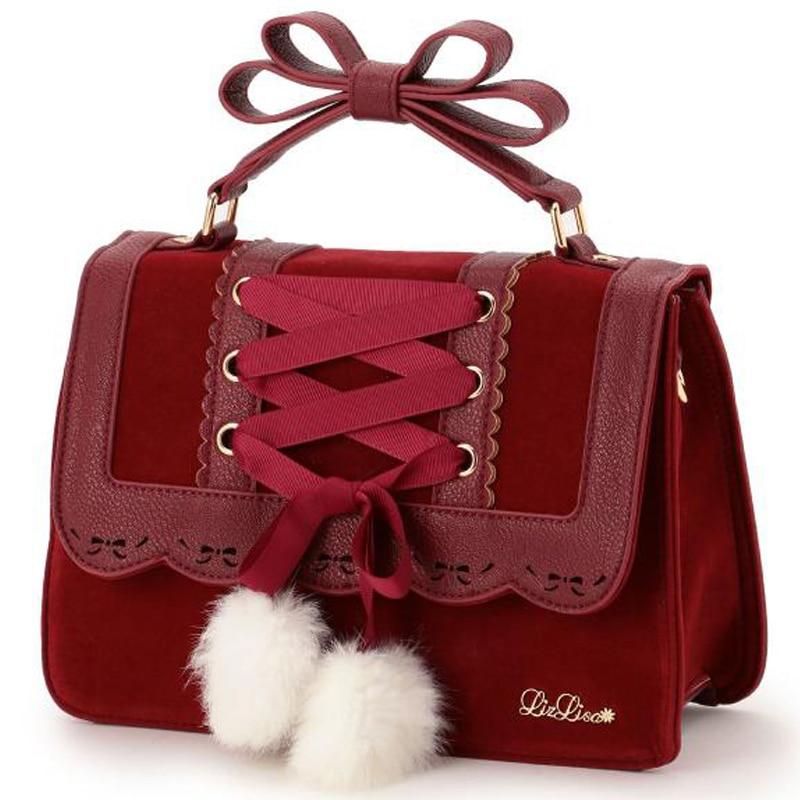 2018 New Fashion Liz Lisa Cute Bow Shoulder Bags Women Sweet Red Handbag Famous Brand Designer Girl Leather Shoulder Bag bag lisa minardi bag