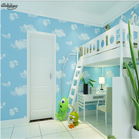 Non Woven Wallpaper Children S Room Boys And Girls Blue Sky White Clouds Wallpaper Bedroom Living
