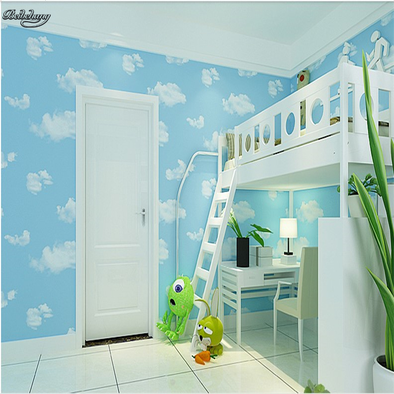 beibehang Non - woven wallpaper children 's room boys and girls blue sky white clouds wallpaper bedroom living room study beibehang children room non woven wallpaper wallpaper blue stripes car environmental health boy girl study bedroom wallpaper