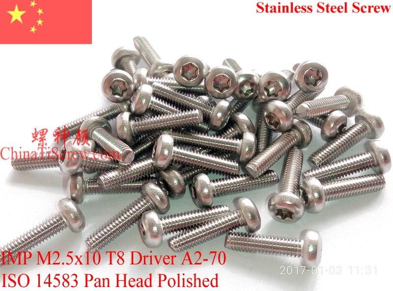 705b96399de6 Acier inoxydable Vis M2.5x10 ISO 14583 À Tête Cylindrique Torx T8 A2-70  Poli ROHS 100 pcs