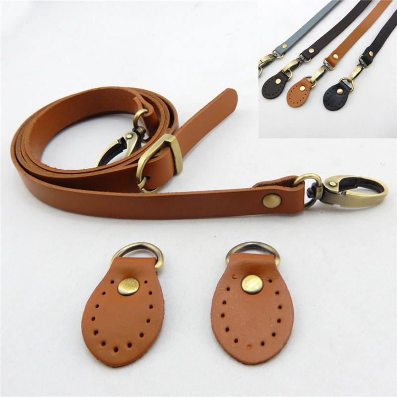 120cm Bags Strap+ 2pcs Buckle Detachable Handles Genuine Leather Replacement Shoulder Bag Accessories Adjustable Staps For Women