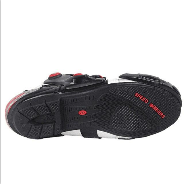 Bottes de moto en cuir résistance aux chutes bottes pour Moto et Scooter imperméables 4