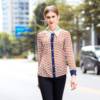 Silk Shirt Women 2018 Spring New Fashion Printed Embroidered Turn Down Collar Long Sleeve Contrast Color Patchwork Shirt Tops