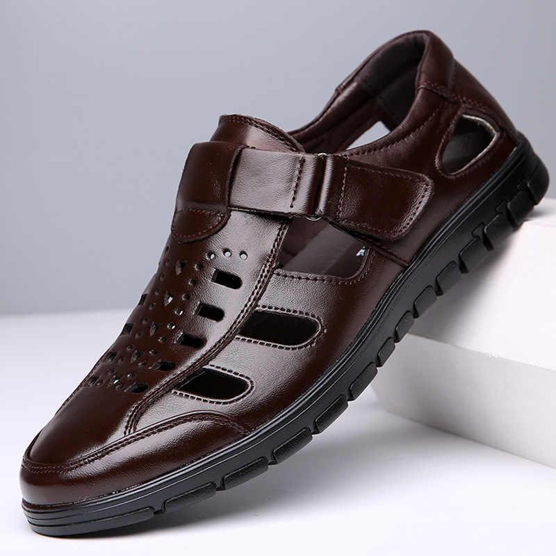Yeni Moda Yaz Sandalet Ayakkabı Inek Gerçek Deri Erkek Sandalet kaymaz Kauçuk Tabanlar Plaj erkek ayakkabısı