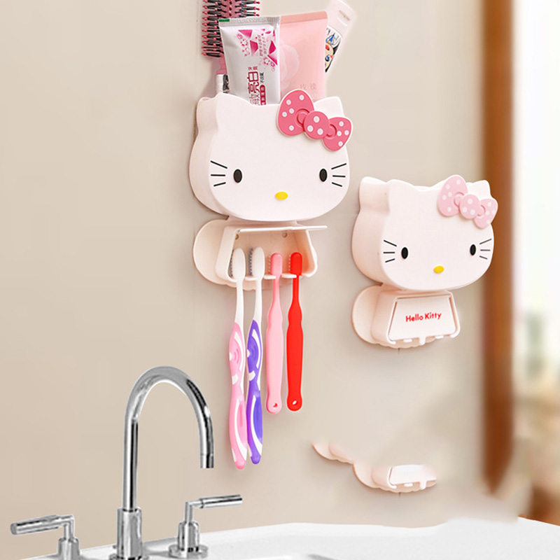 1 pc multifunction cartoon toothbrush holder hello kitty storage box bathroom accessories paste. Black Bedroom Furniture Sets. Home Design Ideas