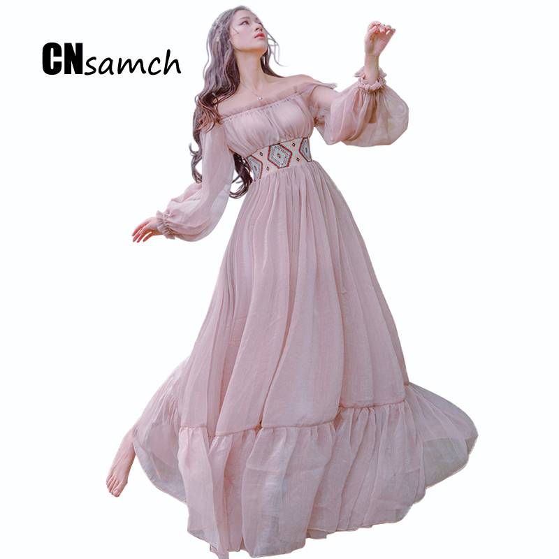 2016 Autumn Slash Neck Fashion Sexy Strapless Dress Literature and Art Vintage Big Swing Holiday Fairy Long Sleeved Dress