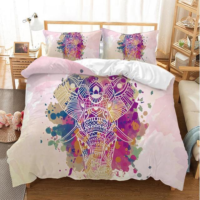 Watercolored Elephant Bedding Set