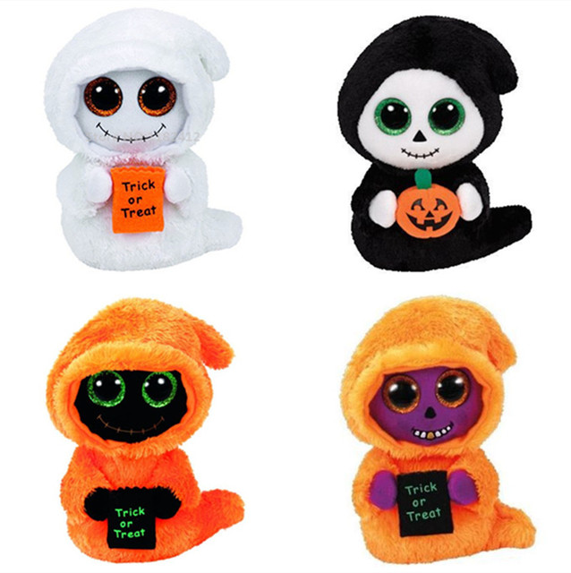 cbfe47c5c1a Ty Beanie Boos Halloween Mist White Ghost Grinner Seeker Skelton Orange  Reaper Cute Stuffed Animals Big Eyes Plush Toys 15 25CM