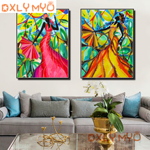 Full Square Scenic Diamond Painting Cross Stitch Wall Art Decor DIY 5D Mosaic African Dancer Picture of Rhinestones