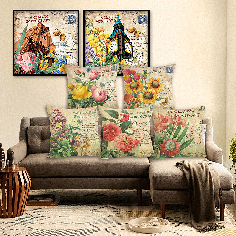 45x45 Mode Stil Wohnkultur Baumwolle Leinen Kissenbezug Blumenmuster Druck Sofa Dekokissen FallDekorativ Platz Cojines