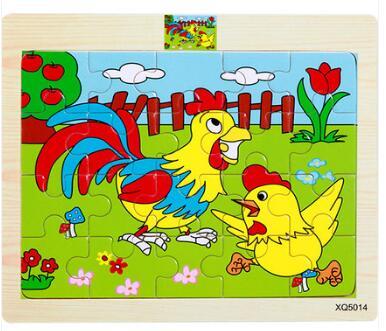 Детская деревянная мультфильм животных 20 шт. пазл для Развивающие игрушки 1 шт.