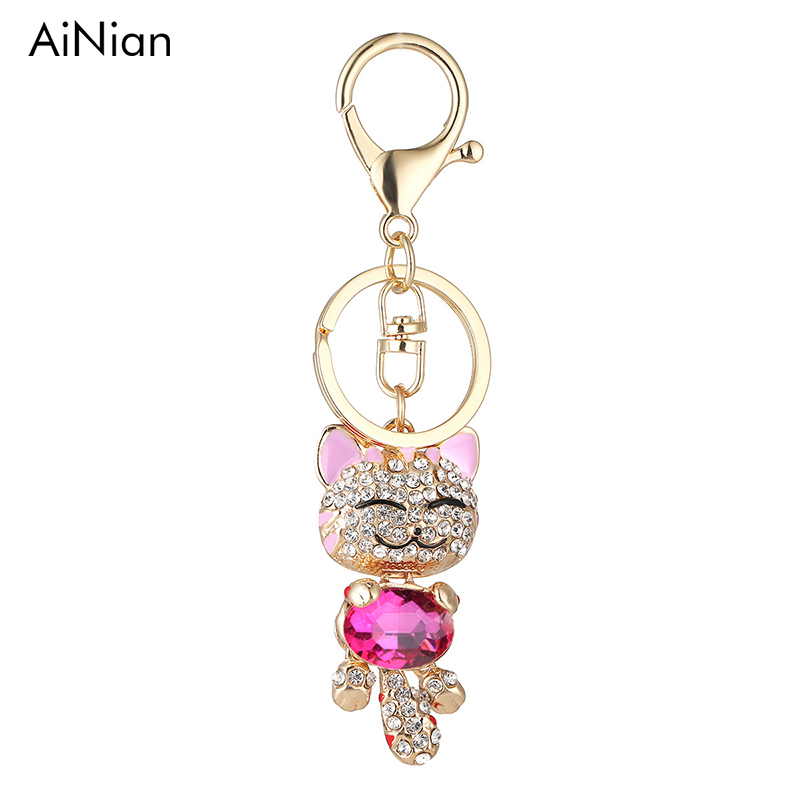 AiNian Lucky Smile Cat Crystal Rhinestone Keyrings Key Chains Holder Purse Bag For Car christmas Gift Keychains Jewelry llaveros lucky bag gift box for blackview ultra