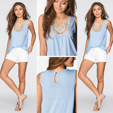 2016 New Fashion Women Summer Casual Vest Top Sleeveless Lace High Quality Blouse Tank Tops Shirt