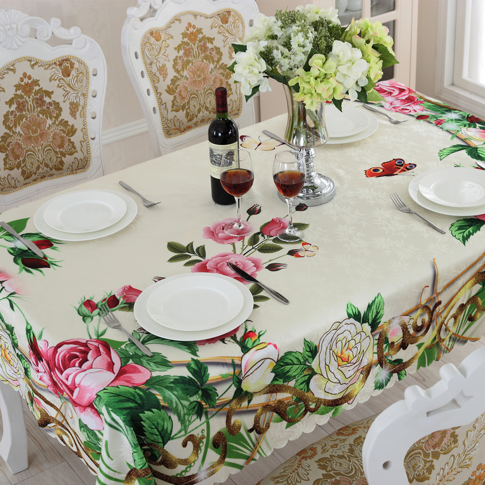 Table Cloth Floral Pattern Pink Green Printed Dust Proof Kitchen Table Covers for Fridge Microwave Christmas Tablecloths