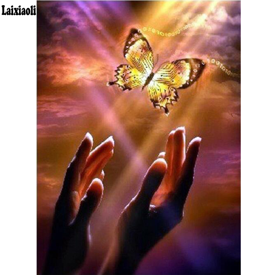 Diamond Embroidery Full Display Scenic Full Square Diamond Painting Hand Butterfly 5D DIY Cross Stitch Rhinestone Decor Home(China)