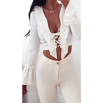 New Style in Autumn 2017 Summer Women Casual Bandage Lace Up Off Shoulder Ruffles Long Sleeve T Shirt Crop Tops Shirt