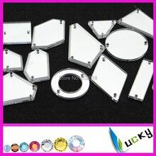 100 шт Высокое качество Акриловые стразы с отверстиями смешанные формы разных размеров акриловые плоские зеркальные бусины для украшения на платье