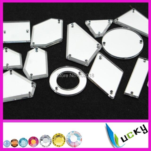 100 pz di alta qualità acrilico cucire strass con fori mix A forma di formati de