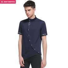 The new men's fashion gentleman wear short sleeved skirt placket oblique pointed collar недорого