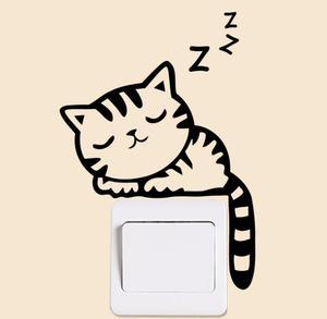 Наклейки на выключатель с рисунком кошки черного цвета, забавные наклейки для домашнего декора для детей