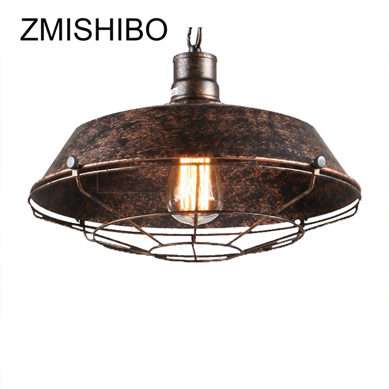 ZMISHIBO 110V-220V E27 Chain Pendant Lamp For Dining Room Diameter 26/36/46cm Iron Rust Pot Cover Shape Retro Lighting Fixtures