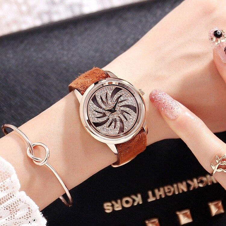New Watch Women Watches Lady Shining Rotation Dress Watch Big Diamond Stone Wristwatch Lady Genuine Leather Watches 39mm big women dress watches 100