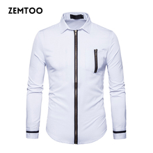 2017 Autumn Brand Men's Shirt Long Sleeve Dress Shirt Fashion Zipper Placket Design Shirts Cotton Casual Men Shirt Social ZE0345