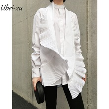 Ubei Spring&summer new style sex wind handsome fine cotton BLOUSE hand pleated hundred decoration white shirt fashion