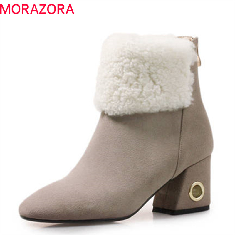 MORAZORA 2018 high quality suede leather ankle boots women square toe autumn winter boots square high heels shoes woman enmayla fashion front zipper ankle boots women chucky heels square toe high heels shoes woman black yellow suede autumn boots