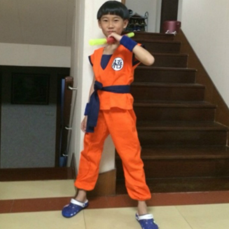Japan Anime Kids Dragon Ball Z Cosplay Costume Son Goku Monkey King Cosplay Clothes Halloween Party Wear free shipping