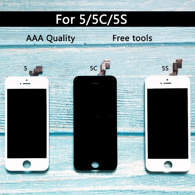 fd23c20059e Buena calidad reemplazo para iphone 5 iphone 5c iphone 5s pantalla LCD de  pantalla táctil digitalizador Asamblea blanco herramientas libres