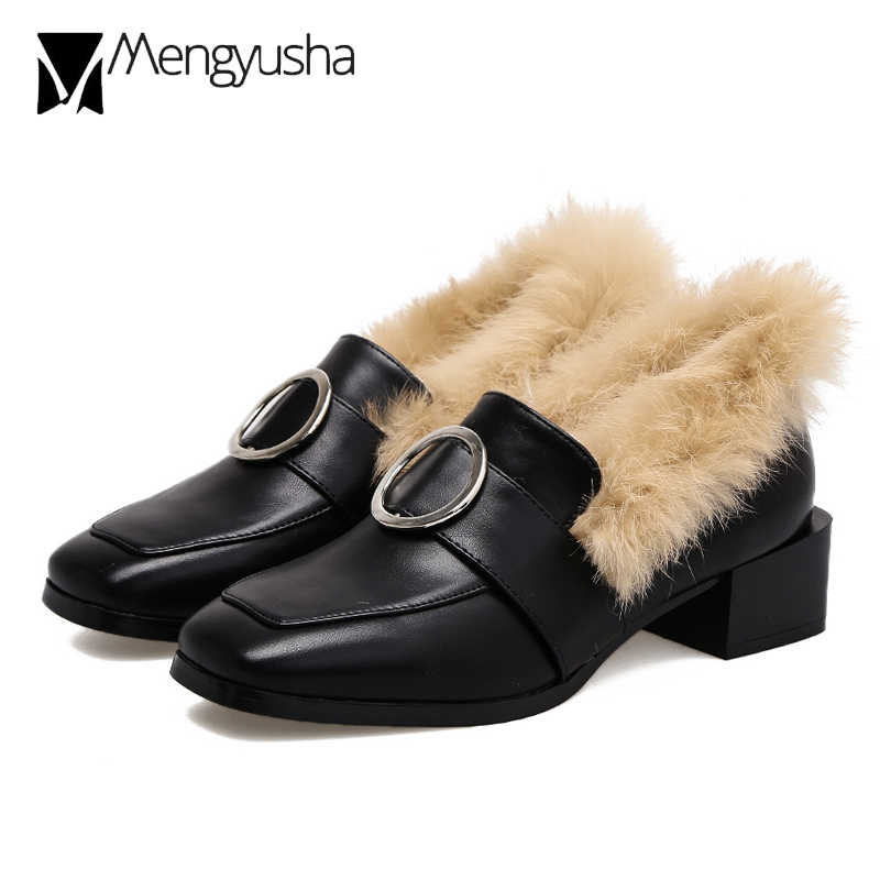 5bb6acb7e39 Women Rabbit Fur Med-High Heels Mules Mary Jeans Winter Shoes Metal Decorate  Fur Ankle