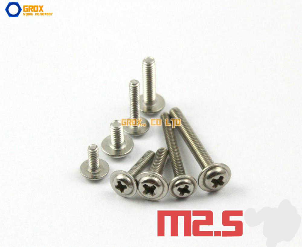 M2.5 304 Stainless Steel Phillips Pan Washer Head Machine Screw m6 hex socket small pan button head screw plain and spring washer assemblies stainless steel machine screw diy repair