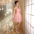 ZX558RF#wholesale 2016 new fashion short prom Bra toast the bride married red tutu performance bridesmaid dress flesh pink