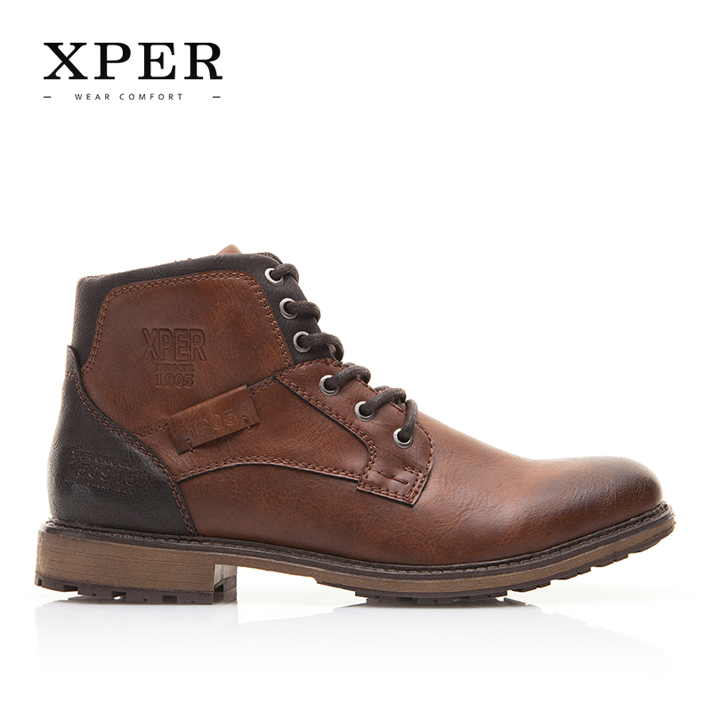 XPER Automne Hiver Hommes Bottes Grande Taille 40-48 Vintage Style Hommes Chaussures Casual Mode Haute-Cut Dentelle-up Chaud Hombre # XHY12504BR - 3