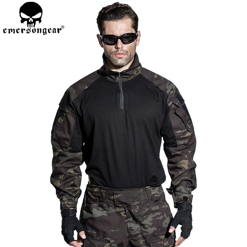 EMERSONGEAR Airsoft Chemise Pantalon avec Genouillères Combat Shirt Pantalon Tactique Us Army Militaire Uniforme Multicam Noir EM7043 EM9256