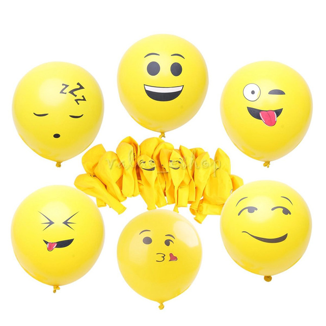 20pcs Cute Emoji Balloons Smiley Face Expression Yellow Latex