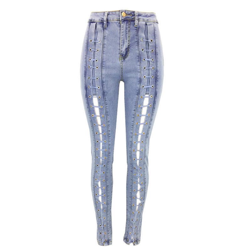 2c634f843411d Detail Feedback Questions about Hancuinu Womens Autumn Sexy Lace Up Hollow  Out Denim Jeans Plus Size Hip Widen Jeans Female Slim Stretch Skinny Pencil  Pants ...