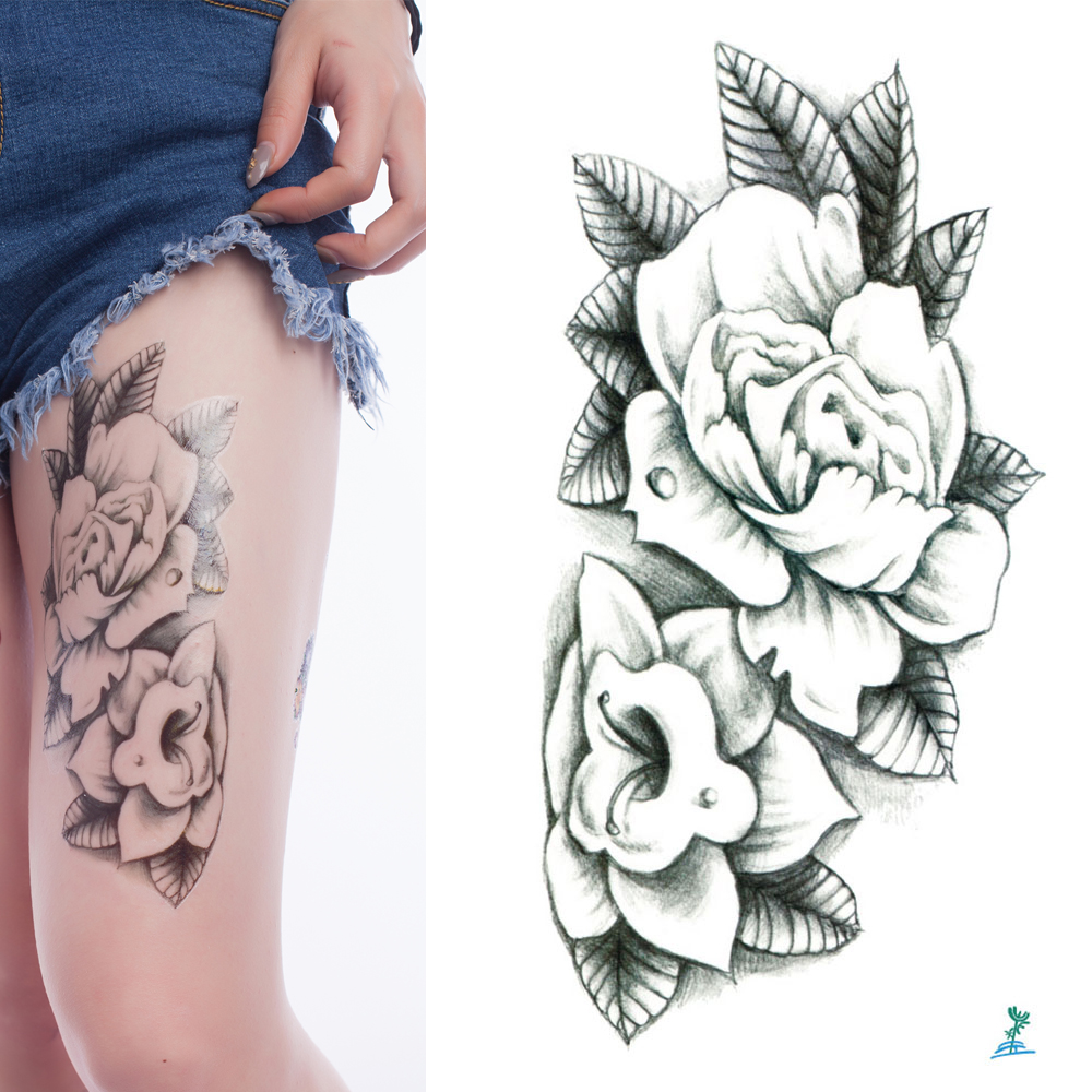 10 Sheets Yeeech Large Flower Designs Temporary Tattoo Sticker Black White Arm Leg Fake Transfer Body Art Waterproof for Women