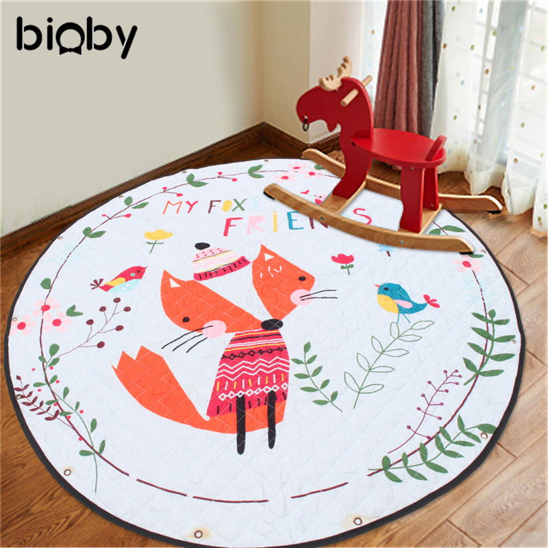 59 Inch Cotton Baby Kids Gym Play Mat Activity Crawling Blanket Toys Storage Bag