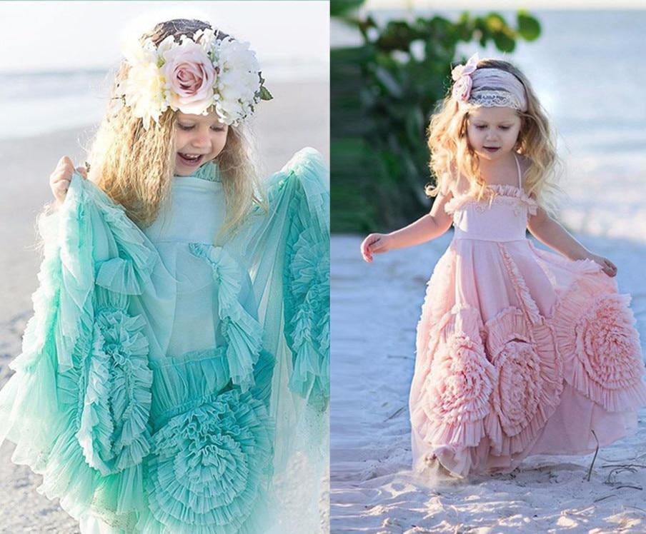2017 New First Communion Dress Daminha Casamento Vestidos De Spaghetti A Line Ruffles Lace Pink Flower Girl Dresses For Weddings sweet girl s spaghetti strap polka dot denim spliced a line dress