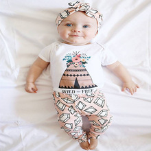 2016 New cute kids clothes boys baby long sleeve cotton T-shirt+Pants suits retail newborn baby children suits fit 0~2 years