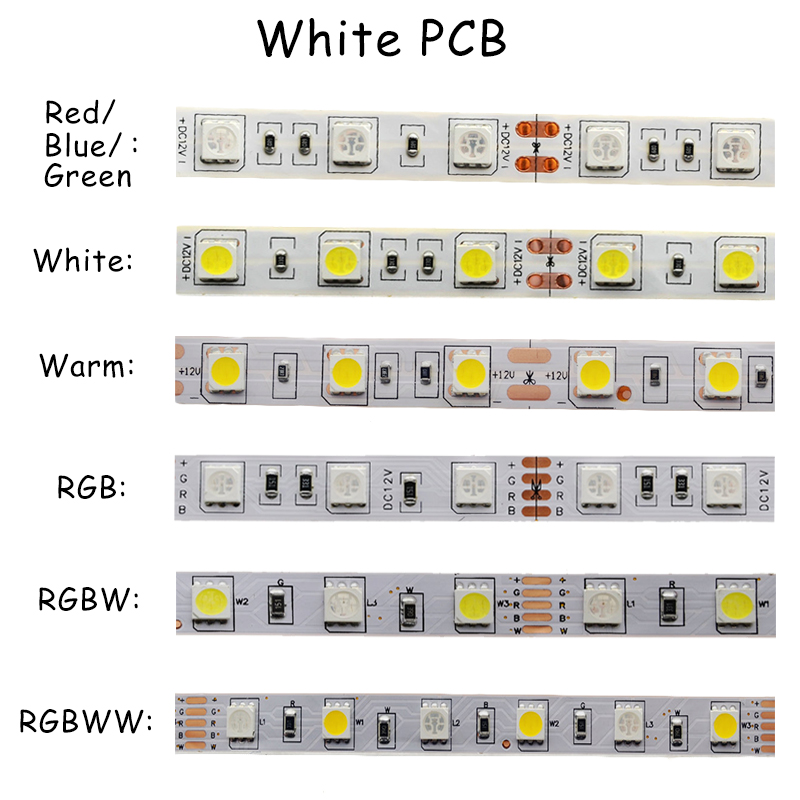 5050 LED Strips RGB RGBWW SMD Chip Light DC 12V Home Decoration Lighting 60Leds/M 300LED Tape 5m/roll