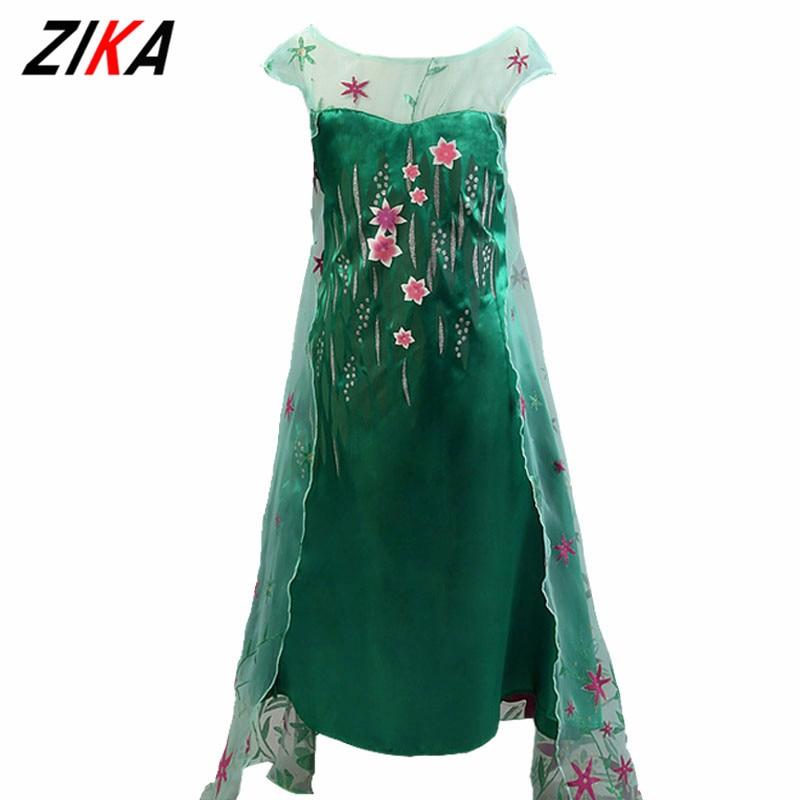 ZIKA 2017 Girl Summer Dress Green Elsa Costumes Girls Cosplay Party Dress Princess Anna