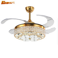 HGHomeart Modern LED Fans Light Gold Crystal Chandeliers For The Bedroom Iron Living Room Lamp Chandelier