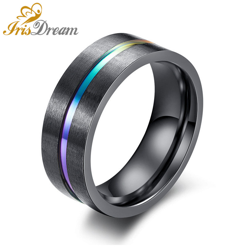High Quality Black Color Stripe Stainless Steel 316L Mens Rings Men Ring Titaninum Steel Ring Punk Goth Men Fashion Jewelry Gift