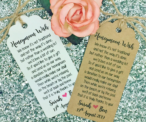 Custom Wishing Well Poem Wedding Thank You Gift Tags Welcome Guest